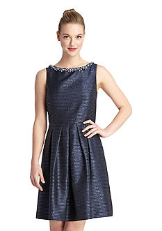 Tahari ASL Fit and Flare Dress with Bead Embellished Neckline