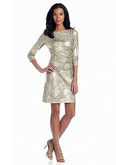 Tahari ASL Metallic Jersey Sheath Dress