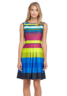 Tahari ASL Striped Scuba Fit and Flare Dress