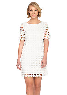 Tahari ASL Short-Sleeve Lace Shift Dress