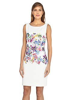 Tahari ASL Floral Lace Overlay Sheath Dress