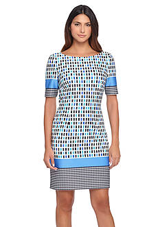 Tahari ASL Printed Scuba Sheath Dress