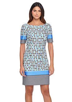 Tahari ASL Printed Scuba Sheath Dress