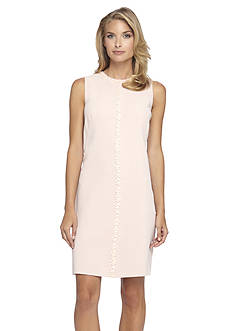 Tahari ASL Embroidery Beading Shift Dress