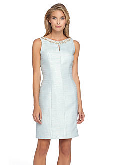 Tahari ASL Pearl Embellished Sheath Dress