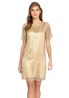 Tahari ASL Sequin Novelty Shift Dress