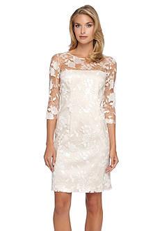 Tahari ASL Sequin Lace Sheath Dress
