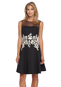 Tahari ASL Illusion Neckline Jacquard Fit and Flare Dress