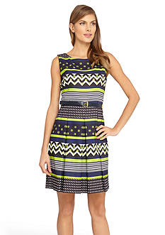 Tahari ASL Printed Belted Fit and Flare Dress