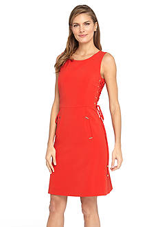Tahari ASL Bi-Stretch Sheath Dress with Lace-up Sides