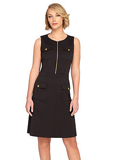 Tahari ASL Sleeveless Basket Weave A-Line Dress