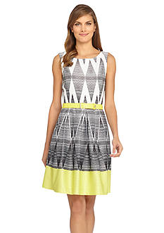 Tahari ASL Printed Jacquard Belted Fit and Flare Dress