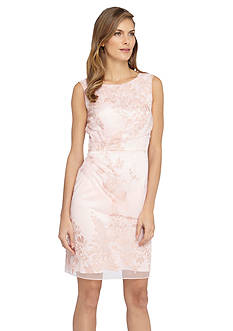 Tahari ASL Embroidered Mesh Sheath Dress