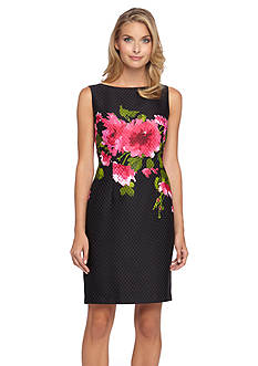 Tahari ASL Floral Jacquard Sheath Dress
