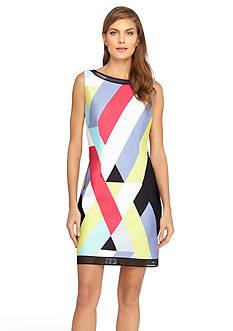 Tahari ASL Geometric Striped Scuba Sheath Dress