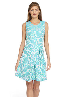 Tahari ASL Floral Jacquard Fit and Flare Dress
