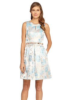 Tahari ASL Metallic Jacquard Belted Fit and Flare Dress