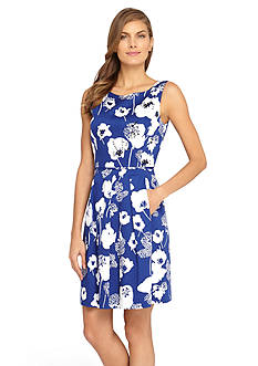 Tahari ASL Floral Printed Fit and Flare Dress