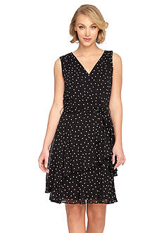 Tahari ASL Polka Dot Faux Wrap Dress