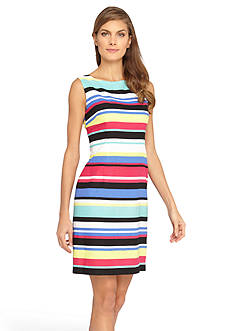 Tahari ASL Striped Lined Sheath Dress