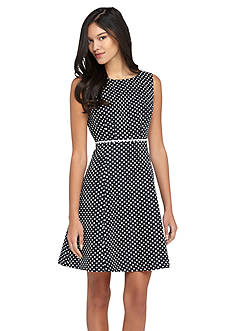 Tahari ASL Polka Dot Fit and Flare Dress