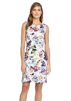 Tahari ASL Floral Scuba Sheath Dress