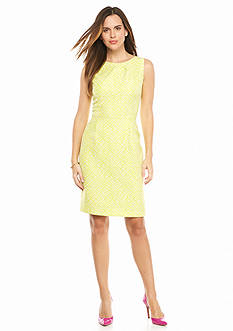 Tahari ASL Printed Jacquard Sheath Dress