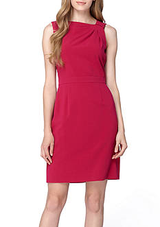 Tahari ASL Asymmetrical Neckline Sheath Dress