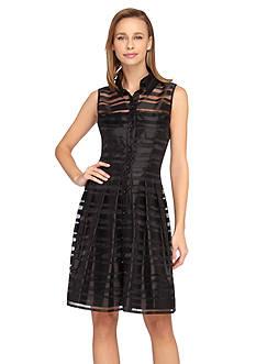 Tahari ASL Shadow Stripe Shirt Dress