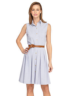 Tahari ASL Belted Stripe Seersucker Shirt Dress