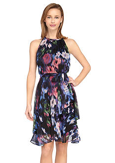 Tahari ASL Printed Chiffon Fit and Flare Dress