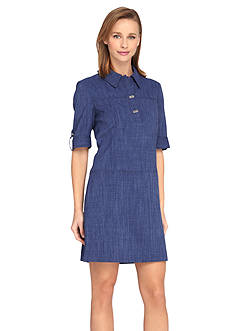 Tahari ASL Denim Shirt Dress