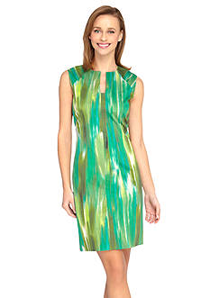 Tahari ASL Printed Cotton Sateen Sheath Dress