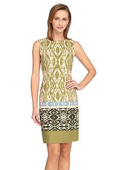 Tahari ASL Printed Linen Sheath Dress