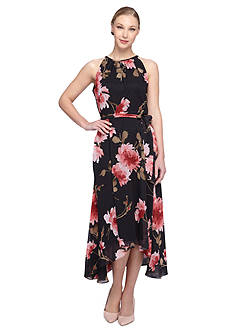 Tahari ASL Floral Chiffon Dress
