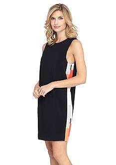 Tahari ASL Side Printed Panel Shift Dress