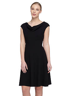 Tahari ASL Cowl Neckline Fit and Flare Dress