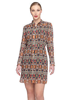 Tahari ASL Chiffon Printed Shirt Dress