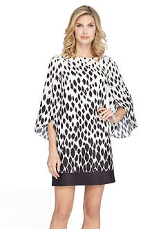 Tahari ASL Tulip-Sleeve Printed Shift Dress