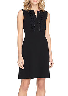 Tahari ASL Bead Embellished Ruffle Front A-line Dress
