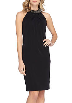 Tahari ASL Bead Embellished Halter Sheath Dress