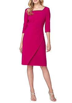 Tahari ASL Square-Neck Sheath Dress