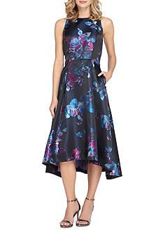 Tahari ASL Floral Printed Fit and Flare Dress with Hi-Lo Hemline
