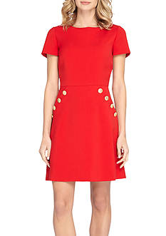 Tahari ASL Short-Sleeve A-line Dress with Pockets