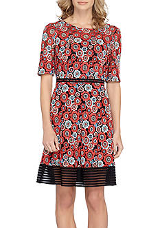 Tahari ASL Floral Printed A-line Dress with Striped Mesh Hem Border