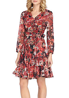 Tahari ASL Floral Chiffon Faux Wrap Dress