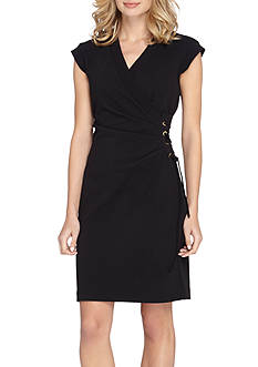 Tahari ASL Surplice Neckline Sheath with Side Lace-Up