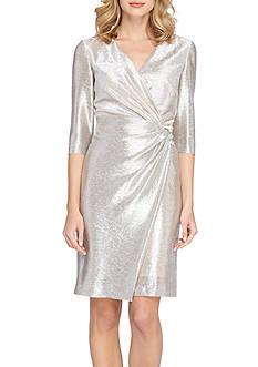 Tahari ASL Foil Knit Faux Wrap Dress