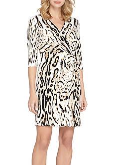 Tahari Animal Printed Jersey Wrap Dress