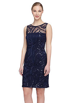 Tahari ASL Embroidered Sheath Dress